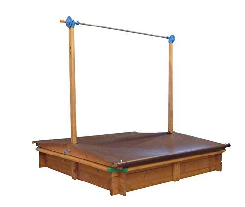 GASPO Cajón de arena 'Mickey' con techo regulable | Arenero con mango para ajustar el techo|140 x 140 cm | Cajón de arena de alta calidad: Hecho en Austria | Fácil de montar