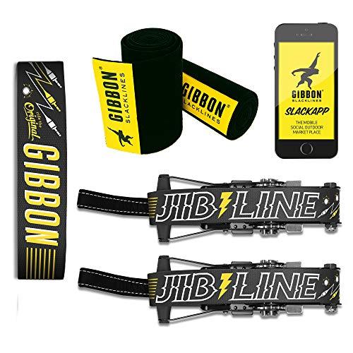 Gibbon 18857 Jibline XL 2019 - Juego de Accesorios para Slackline (25 m, Incluye 2 carracas de 20 m y 2 Cintas de carraca de 2,5 m con carraca), Color Negro