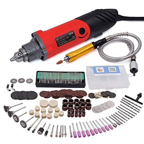 GOXAWEE Herramienta rotativa multifunción 240W Amoladora Recta Electrica con Avanzado Eje flexible 3mm y 170 accesorios para bricolaje herramientas