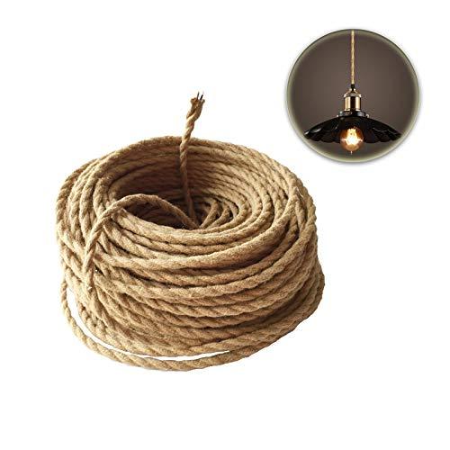 GreenSun LED Lighting Cable de cuerda de 10M 2 núcleos, 0,75 mm², cable de tela trenzada de cáñamo para colgar lámparas, accesorios de lámpara