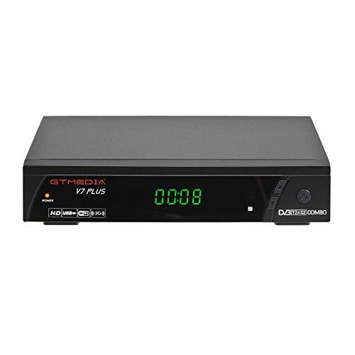 GT MEDIA V7PLUS Decodificador TDT Receptor de TV por Terrestre Decodificador Satélite DVB-T/T2 DVB-S/S2 con Antena WiFi USB 1080P Full HD H.265 HEVC MPEG-2/4