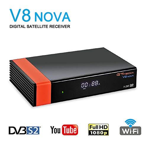 GT Media V8 Nova DVB-S2 Decodificador del Receptor de Satélite con Wi-Fi / HEVC H.265 / TV SCART / 1080p Full HD / Ethernet / FTA ,Soporte Web TV Youtube Ccam PVR Newcam PowerVu Dre Biss Clave
