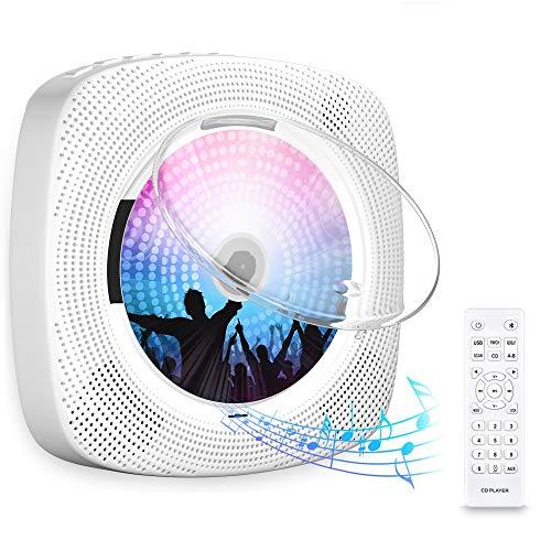 Gueray Portátil Bluetooth Reproductor de CD con Cubierta Antipolvo Control Remoto Radio FM Altavoces de Alta fidelidad incorporados Conector de Auriculares Salida de Entrada USB / AUX incorporada