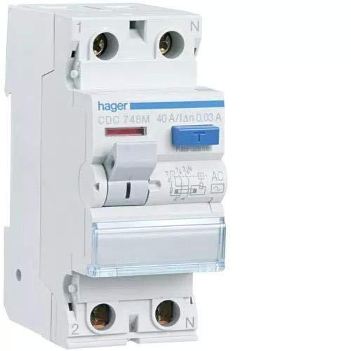 Hager CDC748M Interruptor Diferencial Tipo AC, 2P, 40A, 30mA