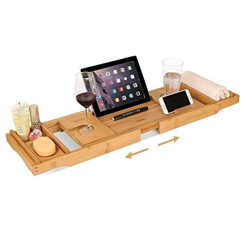 Homfa Bandeja Bañera de Bambú Bandeja de Baño Extensible con Soporte para Vaso Jabón Móvil iPad Libro (75-109) x23x4.5cm