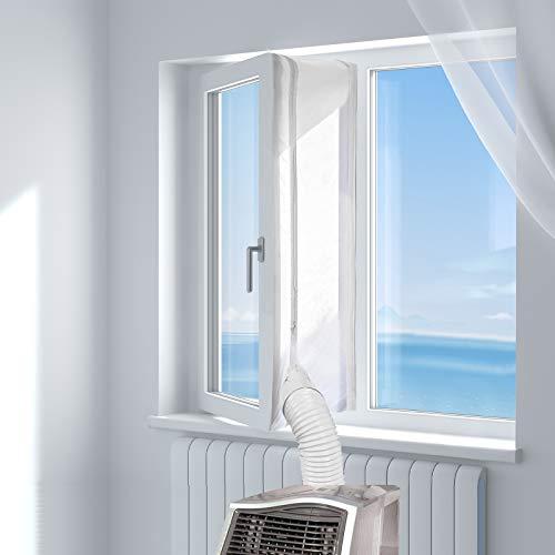 HOOMEE Cubierta Aislante para Ventanas y Puertas para Aparatos De Aire Acondicionado Portátiles y Secadoras. Fácil Instalación Evita La Entrada de Mosquitos. Perímetro Máximo de 400cm