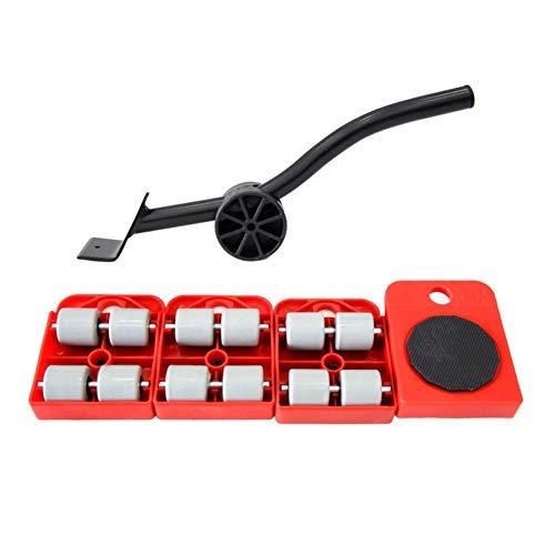 HUIJ Levantador de Muebles con Paquete de 4 Deslizadores móviles Herramientas para Mover Rodillos Pesados de Muebles Máx. para 150 kg / 330 LB, Almohadillas giratorias de 360 Grados (Rojo)