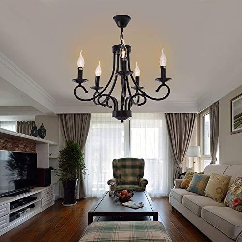 Iglobalbuy Accesorio de iluminación pendiente del techo del negro retro de la lámpara 5 del metal del estilo tradicional