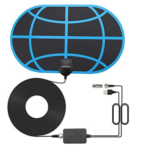 JAMIEWIN Antena de TV para Interiores 4K 1080P HDTV Antena Digital Freeview 120-150 Millas Soporte de Largo Alcance VHF/UHF/FM con Amplificador de señal Cable Coaxial de 18.5 Pies