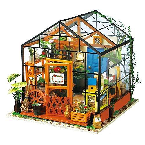 JJSFJH Miniatura 3D Invernadero Craft Kits de la casa de muñecas con Muebles y Accesorios Juguetes educativos Flower House