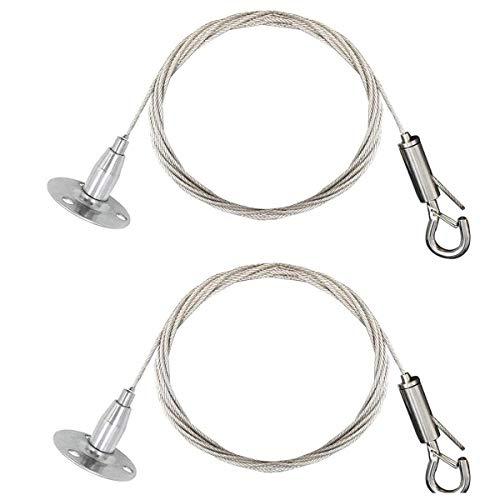 Juego de 2 abrazaderas de cuerda de alambre de acero inoxidable KWODE con gancho de bloqueo para colgar discos para paneles de luz, para colgar cuadros y lámparas de bricolaje – 2 m, máximo 30 kg