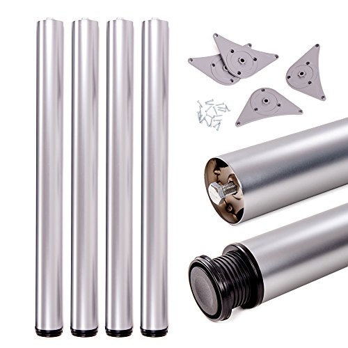 Juego de patas extensibles de mesa   Sossai® Premium TBAL   Óptica de aluminio   Altura regulable 710 mm + 20 mm   Set de 4 unidades