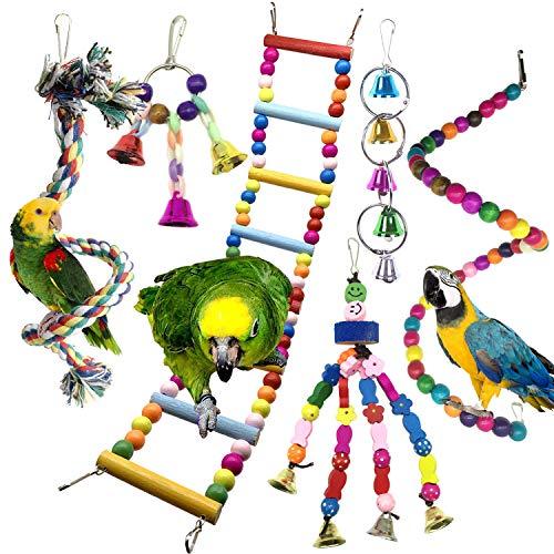 Juguetes para Pájaros, PietyPet 6 Piezas Pájaros Juguetes con Campanas, Escalera de madera, Colorido Columpio Juguetes, Hamaca de Madera, Que cuelga la Perca Juguete para pequeños loros de aves