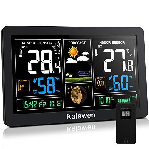 Kalawen Estación Meteorológica Inalámbrica con Sensor Exterior Interior 9-IN-1 DCF Estación Meteorológica para Temperatura Humedad Barómetro Alarma Fase Lunar y Carga USB