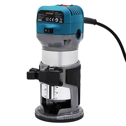 KATSU Fresadora de Madera Rebajadora Eléctrica 220V 710W + 3 Pinzas de 6mm, 8mm y 10mm