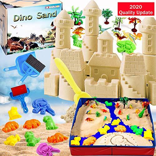 KiddosLand Arena Mágica de 3 lbs, Arena Play Sand Figuras de Dinosaurios y Criaturas prehistóricas de Juguete Never Dry Molding Juguetes de Arena DIY Juguete de Interior para Niños