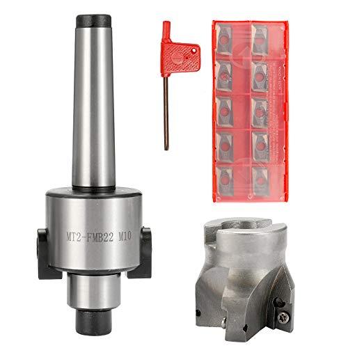 KKmoon Herramienta de Máquina CNC de Precisión metal MT2-FMB22 M10, Fresa de Cara Arbor 10 UNIDS Insertos de Aarburo,Herramienta de Torneado