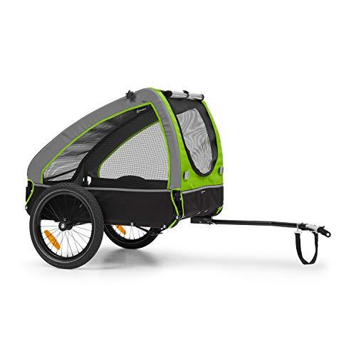 Klarfit Husky Remolque para perros - volumen aprox. 250 litros, material: 600D Oxford Canvas, SmartSpace Concept, carga máxima: 45 kg, bastidor de acero con recubrimiento de polvo, color: verde