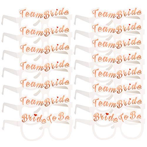 Konsait Despedida de Soltera Accesorios Decoración, 2 Bride y 14 Team Bride Gafas photocall para Fiesta de Despedida de Soltera