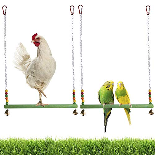 KONUNUS - Columpio de madera para gallinas de madera colorida de juguete para gallinas hecho a mano para pájaros, loros, gallinas de guacamayos, accesorios de gallinero