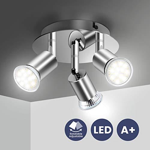 Lámpara de Techo LED Focos, Elfeland Plafón con Focos GU10 3 Luces para Ángulo Ajustable y Giratorio para Interior 110V-220V Focos de Techo Orientables para Dormitorio Cocina Baño(Sin bombillas)