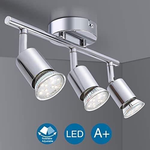 Lámpara de Techo LED Focos, Elfeland Plafón con Focos GU10 3 Luces para Ángulo Ajustable y Giratorio para Interior 110V-220V Focos de Techo Orientables para Dormitorio Cocina Baño (Sin bombillas)