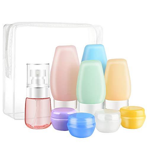 lanthour Botella de viaje, contenedor de viaje de silicona de 9 piezas, accesorios de viaje a prueba de fugas botellas de viaje con bolsa con cremallera para cosméticos, champú y crema cosmética