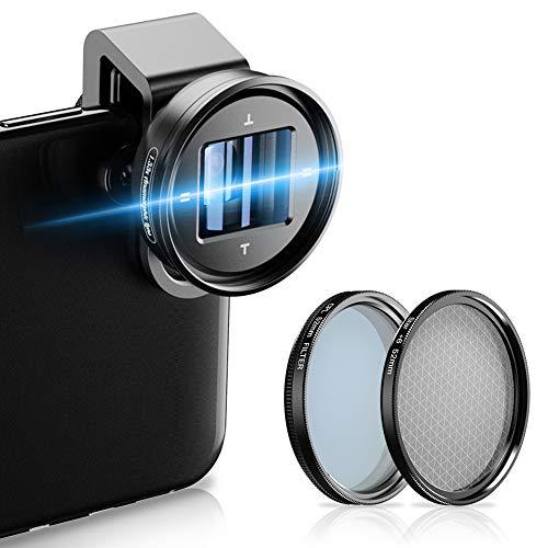Lente anamórfica APEXEL 1.33x con estrella y filtro CPL Lente de película de pantalla ancha 4K HD Lente móvil de deformación de disparo de vlog para teléfonos inteligentes iPhone,Samsung, Huewei