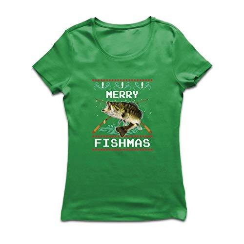 lepni.me Camiseta Mujer Feliz Navidad Peces Gracioso Regalo para el Amante de la Pesca (Small Verde Multicolor)