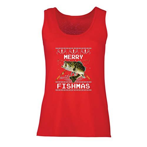 lepni.me Camisetas sin Mangas para Mujer Feliz Navidad Peces Gracioso Regalo para el Amante de la Pesca (Small Rojo Multicolor)