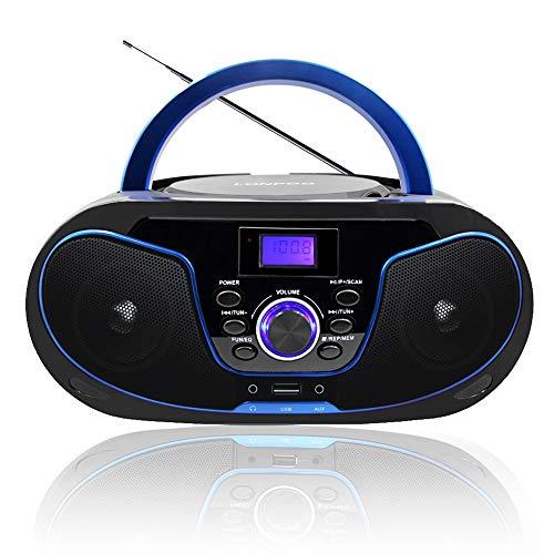 LONPOO Radio CD / MP3 Portátil Reproductor de CD con Bluetooth/FM/USB/AUX-IN/Salida de Auriculares/ 4W Estéreo Altavoz (Negro 02)