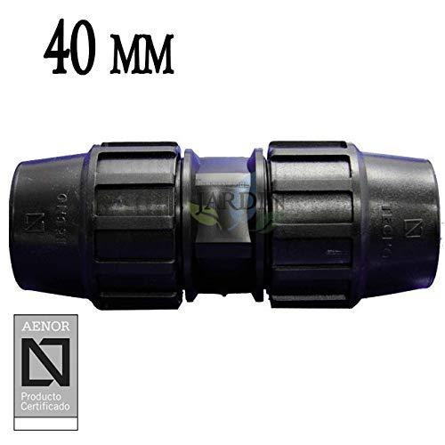 MANGUITO ENLACE POLIETILENO 40MM. Producto con certificado AENOR utilizado en tuberías PE 40 mm para uso fontanería, riego y obras.