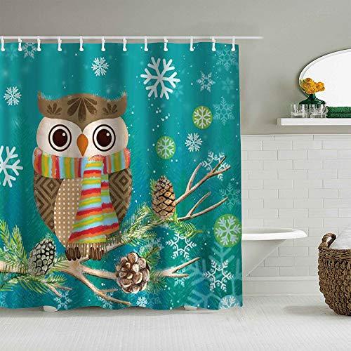 MANISENG Cortina de baño de Tela de poliéster,Lindo Búho Navidad Acebo Invierno,con 12 Ganchos de plástico Cortinas de baño Decorativas 72x72 Pulgadas