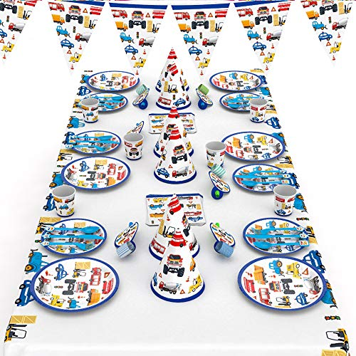 McNory 66 Pieza Vajilla Partido Desechable,Vehículo de construcción Niño Accesorio de Decoración de Fiesta de Cumpleaños-Apoyo para Celebración-Pancarta,Platos, Vasos,Servilletas y Mantel