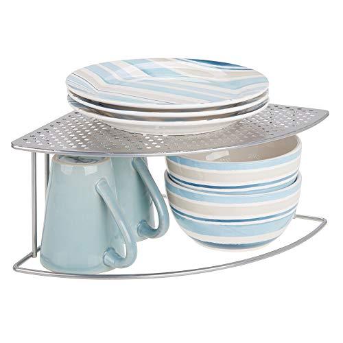 mDesign Balda de cocina – Soporte para platos redondeado para rincones de encimeras e interiores de armarios – Estante separador con dos alturas para aprovechar el espacio al máximo – plateado
