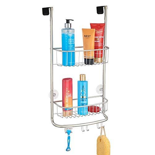 mDesign Estantería de ducha para colgar sobre la mampara – Práctico colgador para ducha con colocación sin herramientas – Cestas metálicas con ventosas para los accesorios de ducha – plateado mate