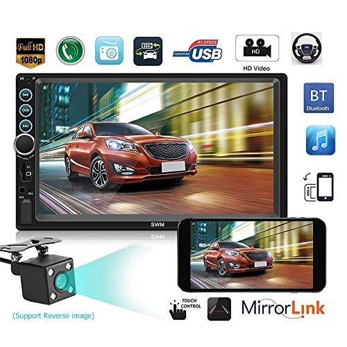 Mengen88 Bluetooth Car Stereo MP5 Player, 7 Pulgadas HD Pantalla Capacitiva Táctil 2 DIN In-Dash Multimedia Player Amplificador De Audio Y Video con Manos Libres/FM Am RDS Radio/USB/SD/AUX