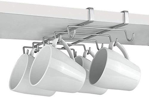Metaltex MY-MUG Colgador de cocina para 10 tazas, color plateado, 28 x 14 x 6 cm