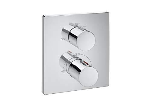 Mezclador termostático empotrable para baño-ducha con desviador-regulador de caudal