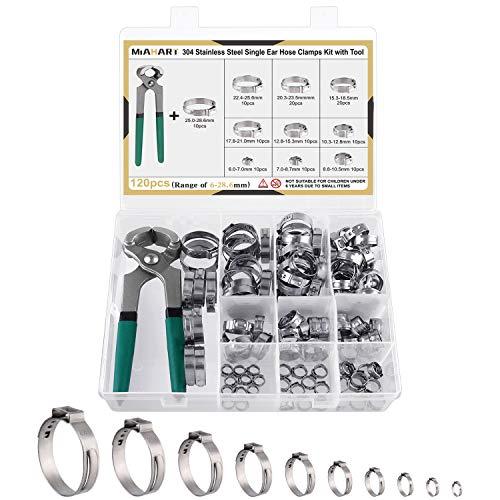 MIAHART 120Pcs Abrazaderas de manguera de oreja simple de acero inoxidable con pinza de sujeción de oreja 10 tamaños 304 Abrazadera de prensado continuo para asegurar mangueras de tubería PEX