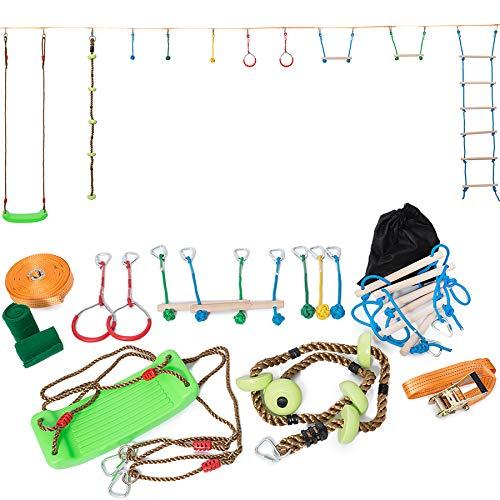 Minetom Slackline - Juego de accesorios para slackline para niños (15 m), naranja