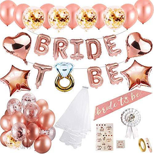 MMTX Hen party decoración para bodas fajín de novia velo bodas bandera Confetti Oro rosa globos,Estrella Corazón globos papel aluminio placa Tatuajes para despedida soltera Noche de gallina fiesta