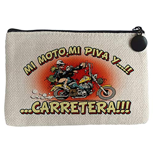 Monedero mi moto mi piva y la carretera motero - Beige, 15 x 10 cm
