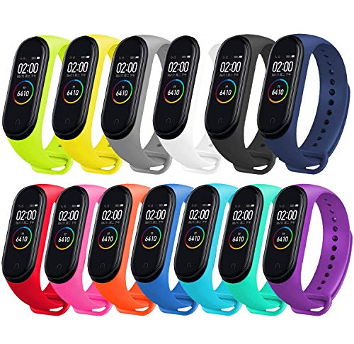 Monuary 13 Piezas Correa para Xiaomi Mi Smart Band 4 / Mi Band 3 Pulsera, Silicona Reloj de Recambio Brazalete Coloridos Correas para Xiaomi Mi Band 3 / Mi Band 4