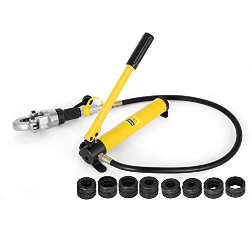 Mophorn Crimpadora Hidráulica V15-28 mm para Tubos Compuestos PEX PE-X Alicates para Engarzar Cortador hidráulico Herramienta de Engarzado con Calibradores y Resortes de Flexión (V12-28, TH16-32)