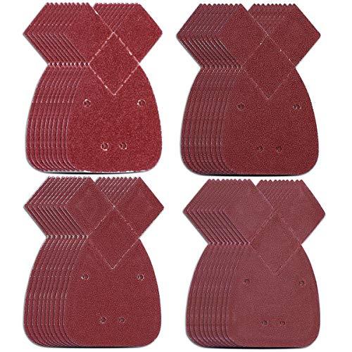 Natuce 40PCS Hojas de Lija para Mouse, 140mm Papel de lija, 40/60/ 80/120 Hojas de Papel de Lija con 4 Agujeros, 2 puntas adicionales gancho, para Black Decker lijadora pulido/eliminación de óxido