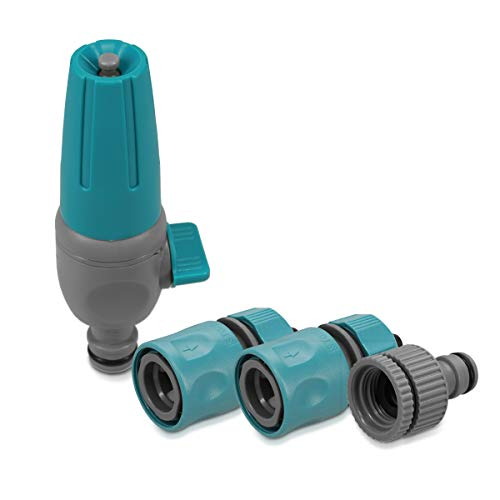Navaris Juego de boquillas y conectores para manguera - Set de 4 piezas de accesorios para jardinería limpieza - Incluye válvula reguladora de agua