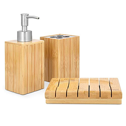 Navaris Set para el baño de bambú - Juego 4 Accesorios para Lavabo - Kit de 4 Piezas - 1x dispensador de jabón 1x Porta Cepillo 1x jabonera