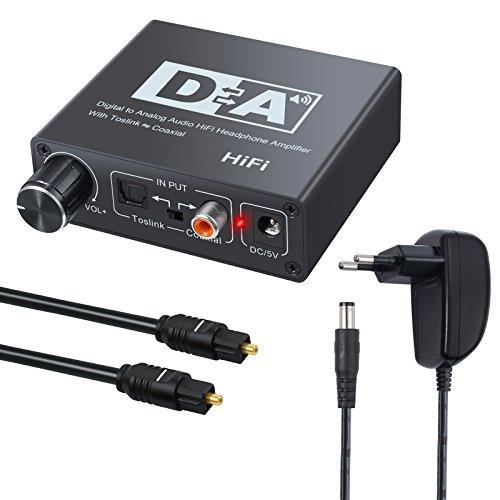 Neoteck 192k DAC Digital a analógico de Audio convertidor Óptico Toslink a Coaxial o Coaxial a Óptico Toslink de Bidireccional Switch para Xbox DVD PS4 HD Plasma Cine en casa Amplificador AV Apple TV