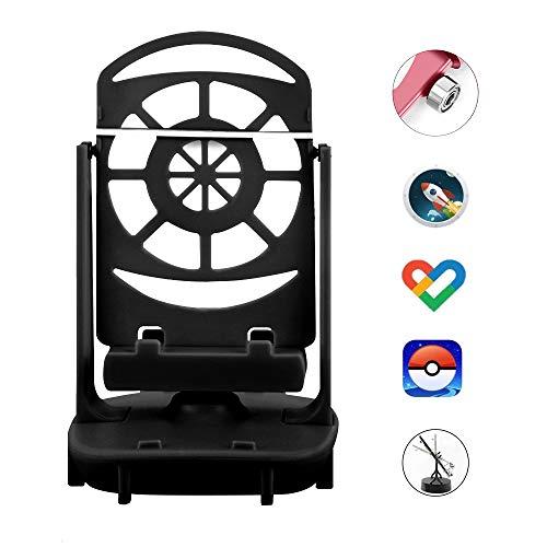 NEWZEROL Accesorios para Columpios de Teléfono Podómetro Poke Ball Plus/Pokemon Go para Teléfono Celular, [Cable USB][Soporte para 2 Teléfonos] Pasos Rápidos Dispositivo para Ganar Pasos - Negro
